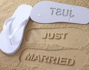 Just Married Flip Flops - Custom Sand Imprint Sandals for Beach Weddings, Bride & Groom *check size chart, see 3rd product photo*