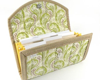 COUPON / EXPENSE / RECEIPT Organizer - Green Paisley - Coupon Organizer Cash Budget Receipt Organizer Organiser