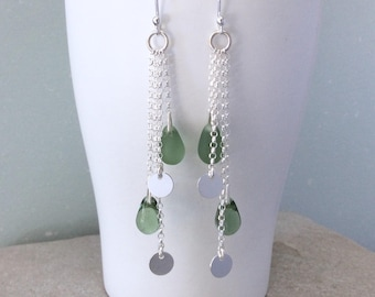 Silver earrings, Long green beaded boho earrings, Best friend birthday gift, Handmade silver jewelry, Sterling silver