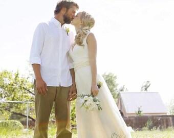 Organic Wedding Dress - Full Length -  Eco Friendly Wedding - Creme - Natural