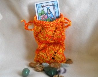 Orange Tarot Bag, Lace Knit Pouch, Rune Bag
