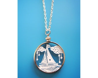 Papercut Sailboat Necklace- Original Handcut Paper in Glass Pendants with Silver Chain