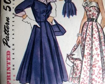 Vintage 50's Pattern One Piece Dress Jacket Detatchable Collar Cuffs Bodice Trim Sz 16