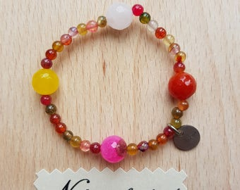 Bracelet for happiness. Beaded colorful agate, yellow agate, red agate, pink agate