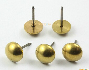 10Pcs 15mm Solid Brass Upholstery Tacks Nails (TN50)