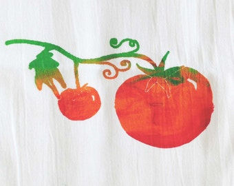 Flour-Sack towel - Hand Screen Printed  TOMATO