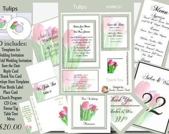 Delux Tulips Wedding Invitation Kit on CD