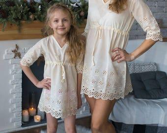 Matching Eyelet Dresses - Matching Mommy Baby dresses - Matching Outfit, Mom and Me, Matching dresses, Mini Me, Shift dress, tunic dress