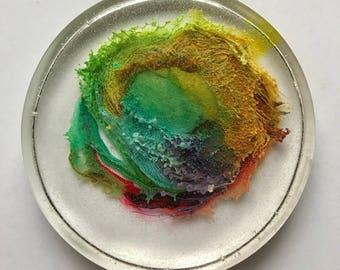 Resin Round 'Rainbow' - Paperweight, Coaster, Desk Art, Hostess gift, Baby shower present