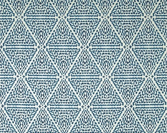 Ikat Diamond Abstract Print Fabric Lacefield Designs Miguel Linen Azure Blue Modern Drapes Lined Drapes, Custom Curtains