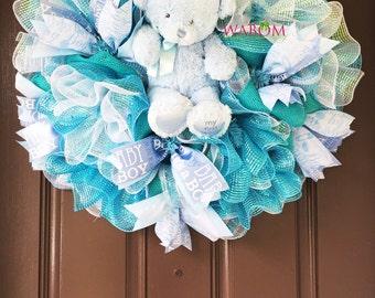 Deluxe Blue Deco Mesh Baby Boy Wreath, Hospital Door Wreath,  It's a Boy Wreath, Baby Boy Gift for New Mom, Baby Bear Wreath