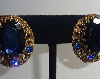 Vintage West Germany 1940's Filigree Clip On Earrings Blue Rhinestones