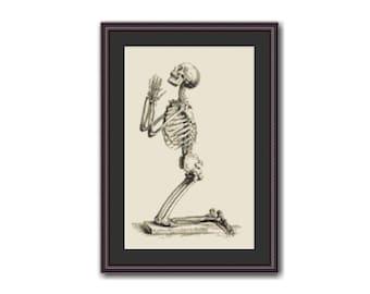 Human Skeleton in Prayer Pose Cross Stitch Pattern / Chart, Chelesdon's Osteographia or Anatomy of Bones, Instant Digital Download  (AP571)