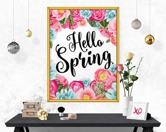 Typography Print, Hello Spring, Printable Quote, Affiche Scandinave, Quote Print, Printable Decor, Art Print