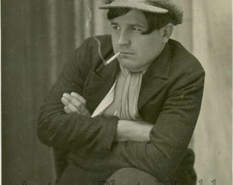 Man smoking cigarette antique photo