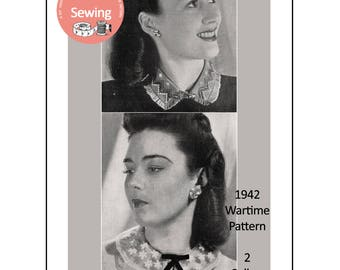 1940's Wartime Collars Instructions to Make - Instant Download Sewing Pattern