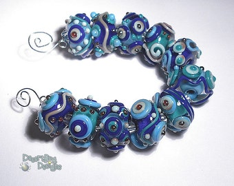TWILIGHT Lampwork Beads Handmade Blue Teal Cobalt Silver Turquoise   Bold and Textured  Set of 11