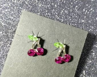 hot pink cherry stud earrings