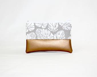 Mini bag - Palm of leaves copper, bag, cosmetic bag, purse, make-up bag, vegan, minimalist, pouch, pencil case,.