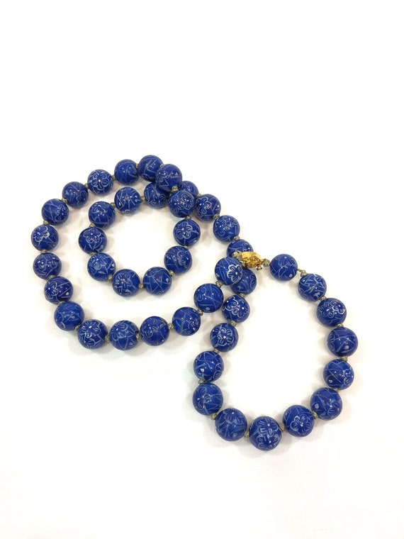 Beaded Porcelain Hand Knotted Lapis Necklace, Opera Length White Flowers, Chinese Maker's Mark, Vintage Blue & White Jewelry