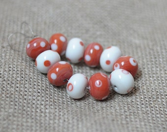 White Coral dotted lampwork bead  - White Coral - 11 pcs glass lampwork beads set