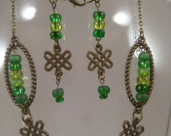 Green and Bronze Celtic Necklace
