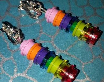 New Hand Made MULTICOLOURED Brick Dangle CLIP ON Earrings using Lego bricks Ideal Gift