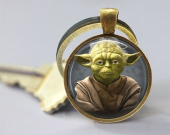 Star Wars Inspired Yoda Glass Pendant/Necklace/Keychain