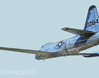 T-33 Shooting Star Jet Aircraft, Whole Bird in Flight, Color Art Version Vintage AF Plane 12x18, Blue Gray on Gray bg