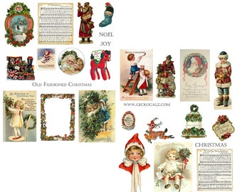 Old Fashioned Christmas Digital Collage Sheets