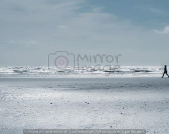 Lone dog walker on the beach