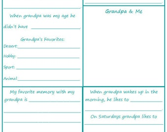All About Grandpa - A Children's Interview - Printable - INSTANT DOWNLOAD