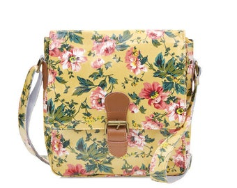 SALE! Oilcloth Crossbody bag - Pink Peony Satchel - Ladies handbag - Oil cloth Crossbody Purse - Leather buckle bag - Laminated Waterproof