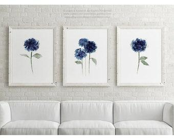 Hydrangea Flowers Painting Navy Blue Watercolor Art Print Nursery Floral Living Room Wall Decor, Green Leaves Botanical Flower Illustration