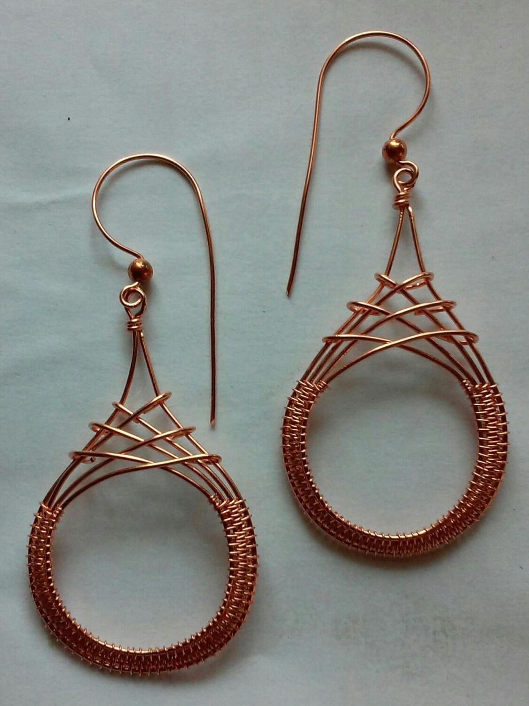 Criss-Cross-Ohrringe in Kupfer Draht gewickelt Ohrringe Draht