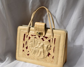 Large Vintage White Tooled Leather Handbag.