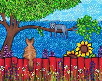 Wee Zorro and Lady Grey, 2 cats, print, Shelagh Duffett