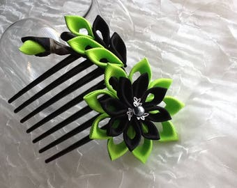Hair Comb - Lime Green and Black Kanzashi Flower - Wedding Flowers Bridal Headpieces
