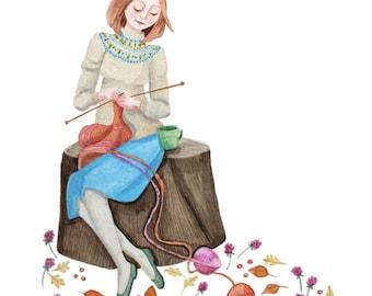 Valentines art for her, Thanksgiving gift, Gift for knitter, Crocheting art, Knitting Illustration, wool, knitting needles, valentines girl