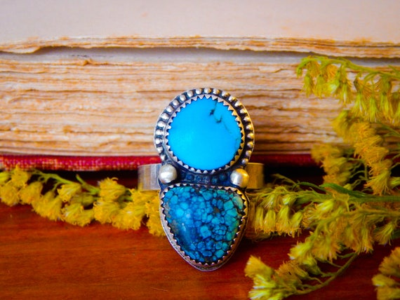 Into the Wild Hubei Goddess Body Turquoise Handcrafted Sterling Silver Statement Ring, 7.75