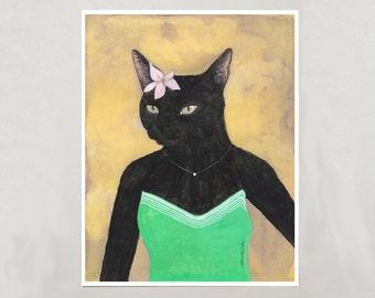 Art Print - Black Cat Girl - Signed by Artist - 3 Sizes - S/M/L
