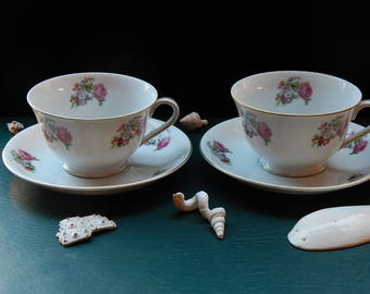 Orion Fine China Pink Rose Teacup Pair with Saucers and Matching Dessert Plates