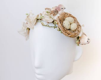 whimsical rustic forest wedding headpiece // birds nest flower crown / birds nest headband / bohemian wedding / nature wedding