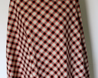 White, red and black Plaid cotton fabric