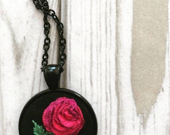 Hand embroidered pendant. Botaical necklace. Flower necklace. Botanical  decoration.