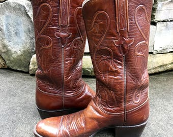 Vintage Lucchese Western Boots Vtg Saddle Brown Leather Cowboy Boots Made in USA Size 8 1/2 D Mens's 10 Women's