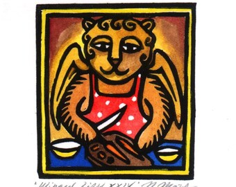 Cooking Winged Lion linocut ACEO