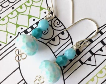 Blue and white speckle earrings, turquoise earrings, blue skies lampwork