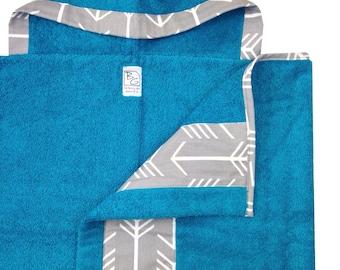 Gray Arrow Hooded Towel Aqua Gray