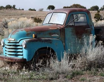Old Blue Chevy Pickup - vintage memorabilia Rusty turquoise blue Chevrolet farm Truck in New Mexico field giclee photograph different sizes